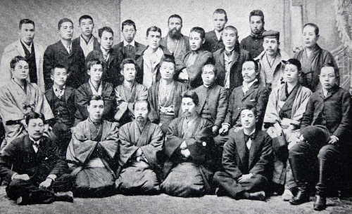 The 27 founding committee members. Front row, left: Takano Fusataro and next to him, Katayama Sen (from Katayama Sen and Nishikawa Mitsujiro, Nihon no rodo undo [The Labour Movement in Japan]